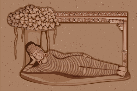 lord buddha: Vector design of Vintage statue of Indian Lord Buddha sculpture one of avatar from the Dashavatara of Vishnu engraved on stone