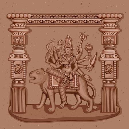 shakti: Vector design of Vintage statue of Indian Goddess Chandraghanta sculpture one of avatar from Navadurga engraved on stone
