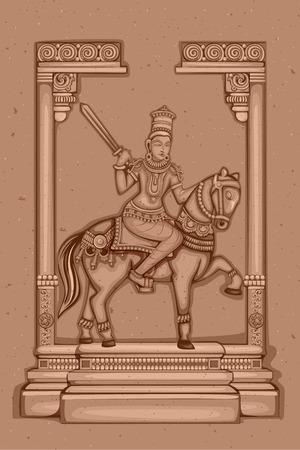 vishnu: Vector design of Vintage statue of Indian Lord Kalki sculpture one of avatar from the Dashavatara of Vishnu engraved on stone Illustration