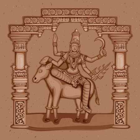 devi: Vector design of Vintage statue of Indian Goddess Kaal Ratri sculpture one of avatar from Navadurga engraved on stone