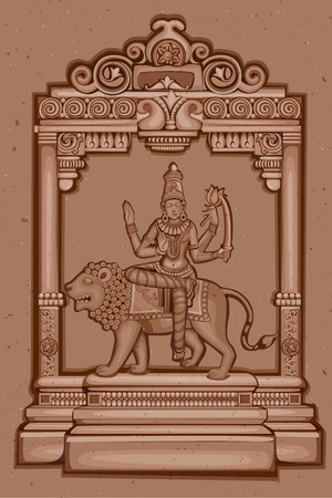 devi: Vector design of Vintage statue of Indian Goddess Katyayani sculpture one of avatar from Navadurga engraved on stone
