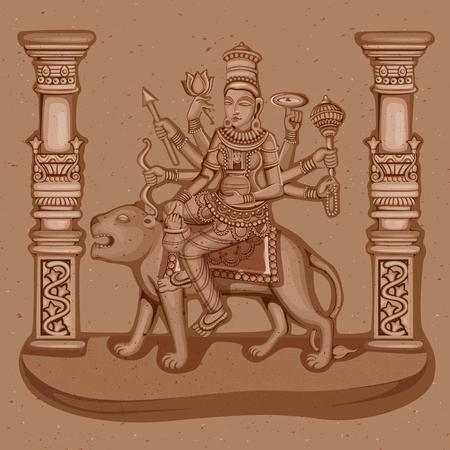 shakti: Vector design of Vintage statue of Indian Goddess Kushmanda sculpture one of avatar from Navadurga engraved on stone