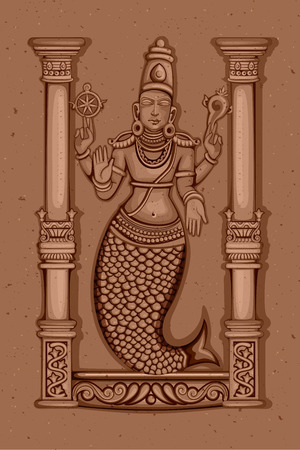 Vector design of Vintage statue of Indian Lord Matsya sculpture one of avatar from the Dashavatara of Vishnu engraved on stone 일러스트