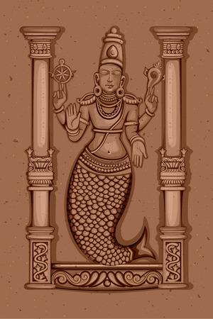 Vector design of Vintage statue of Indian Lord Matsya sculpture one of avatar from the Dashavatara of Vishnu engraved on stone Illusztráció