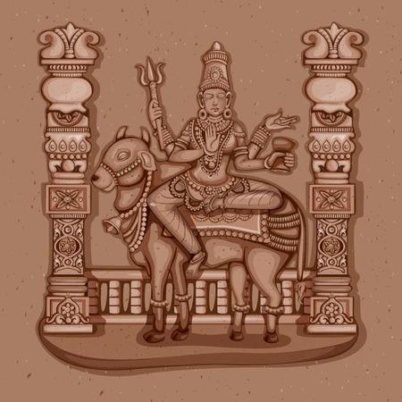 devi: Vector design of Vintage statue of Indian Goddess Maha Gauri sculpture one of avatar from Navadurga engraved on stone Illustration