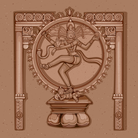 devotion: Vector design of Vintage statue of Indian Lord Shiva Nataraja sculpture engraved on stone
