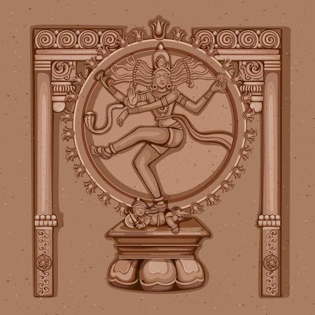 Vector ontwerp van vintage standbeeld van de Indiase Shiva Nataraja sculptuur gegraveerd op steen