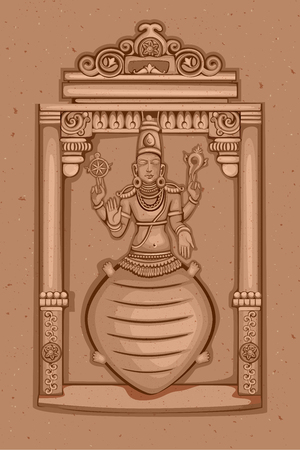 Vector design of Vintage statue of Indian Lord Kurma sculpture one of avatar from the Dashavatara of Vishnu engraved on stone 일러스트
