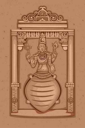Vector design of Vintage statue of Indian Lord Kurma sculpture one of avatar from the Dashavatara of Vishnu engraved on stone Illusztráció
