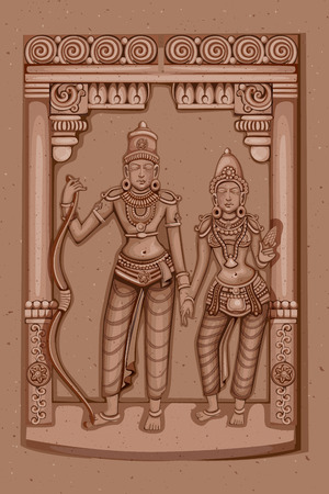sita: Vector design of Vintage statue of Indian Lord Rama Sita sculpture engraved on stone