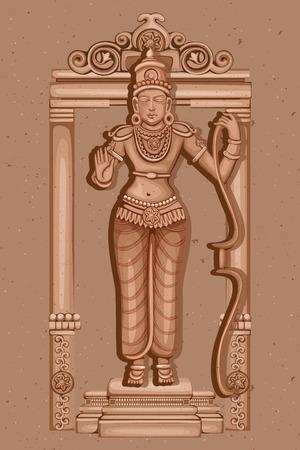 rama: Vector design of Vintage statue of Indian Lord Rama sculpture one of avatar from the Dashavatara of Vishnu engraved on stone Illustration