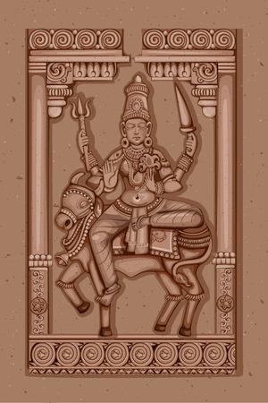 Vector design of Vintage statue of Indian Goddess Shailaputri sculpture one of avatar from Navadurga engraved on stone Illustration