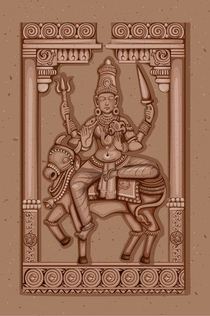devi: Vector design of Vintage statue of Indian Goddess Shailaputri sculpture one of avatar from Navadurga engraved on stone Illustration