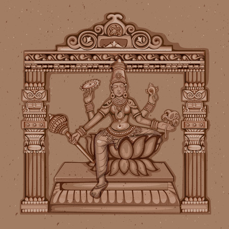ninth: Vector design of Vintage statue of Indian Goddess Siddhidatri sculpture one of avatar from Navadurga engraved on stone