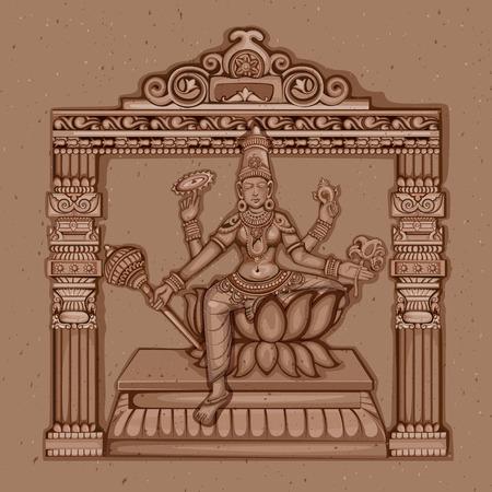 Vector ontwerp van vintage standbeeld van de Indiase Godin Siddhidatri sculptuur één van de avatar van Navadurga gegraveerd op steen