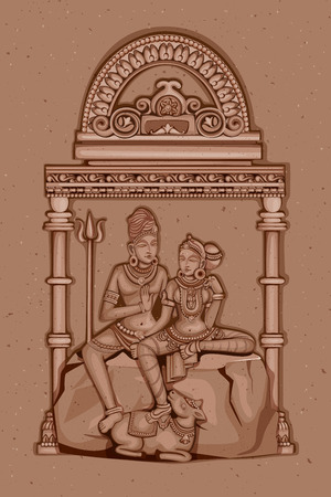 parvati: Vector design of Vintage statue of Indian Lord Shiva Parvati sculpture engraved on stone Illustration