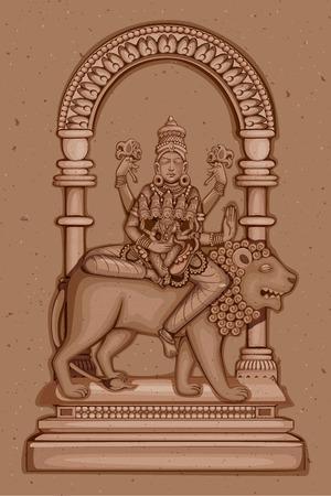 devi: Vector design of Vintage statue of Indian Goddess Skanda Mata sculpture one of avatar from Navadurga engraved on stone Illustration