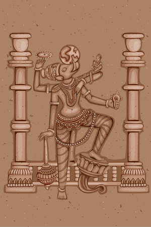3rd ancient: Vector design of Vintage statue of Indian Lord Varaha sculpture one of avatar from the Dashavatara of Vishnu engraved on stone Illustration