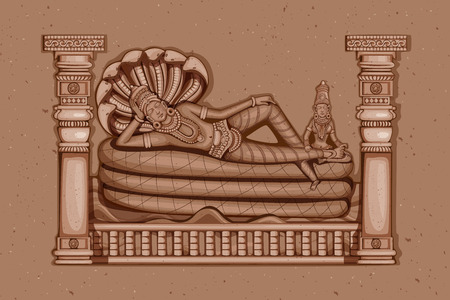 vishnu: Vector design of Vintage statue of Indian Lord Vishnu sculpture engraved on stone Illustration