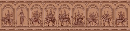 Vector design of Vintage statue of Indian Goddess Navadurga in different avatara sculpture engraved on stone