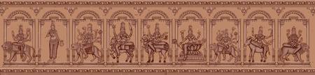 devi: Vector design of Vintage statue of Indian Goddess Navadurga in different avatara sculpture engraved on stone