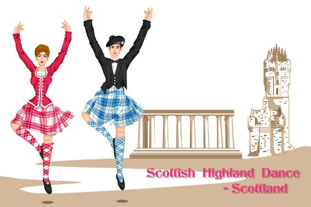 scottish: Vector design of Couple performing Scottish Highland dance from Scotland