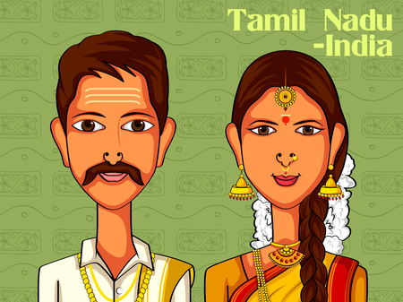 Vector design of Tamil Couple in traditional costume of Tamil Nadu, India Illustration