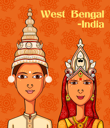 Vector design of Bengali Couple in traditional costume of West Bengal, India Illustration