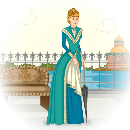 victorian woman: Vector design of vintage Victorian woman with umbrella