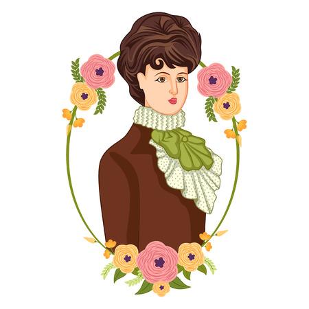 victorian woman: Vector design of elegant vintage Victorian woman