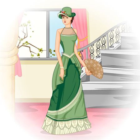 victorian woman: Vector design of vintage Victorian woman with hand fan