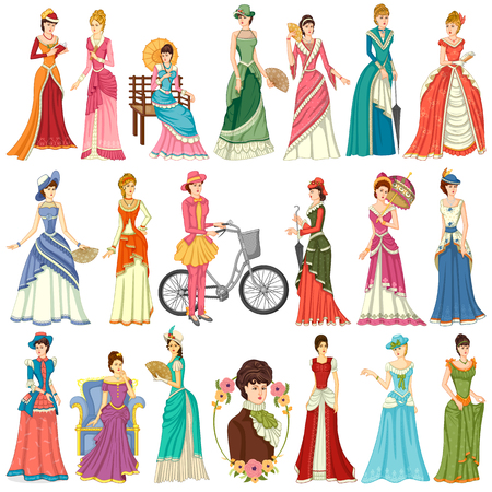 Vector design of collection of vintage Victorian woman