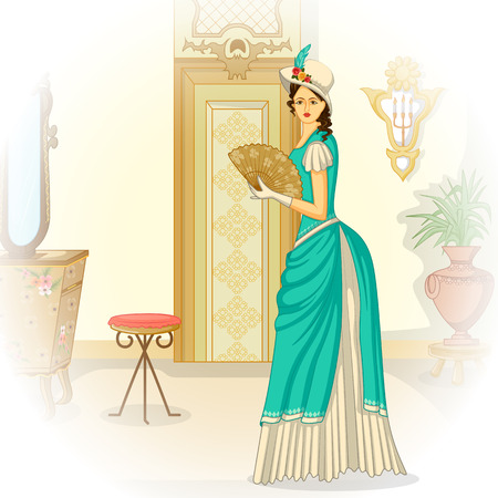 Vector design of vintage Victorian woman with hand fan