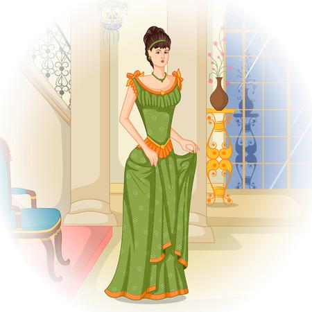 Vector ontwerp van elegante vintage Victoriaanse vrouw