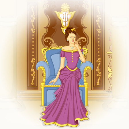 Vector design of vintage Victorian woman sitting in Throne Vectores