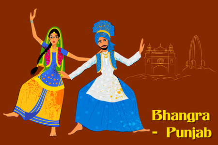 performing: Vector design of Couple performing Bhangra folk dance of Punjab, India Illustration