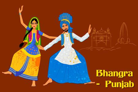 folk dance: Vector design of Couple performing Bhangra folk dance of Punjab, India Illustration