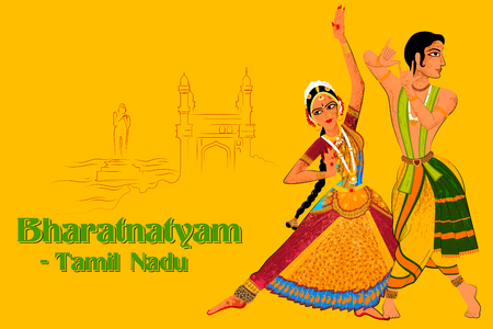 Vector design of Couple performing Bharatanatyam classical dance of Tamil Nadu, India Ilustração