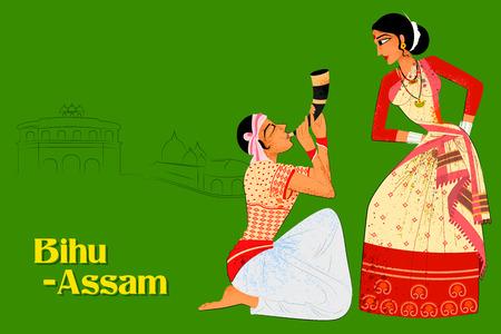 Desenho vetorial de casal realizando dança folclórica de Bihu de Assam, Índia