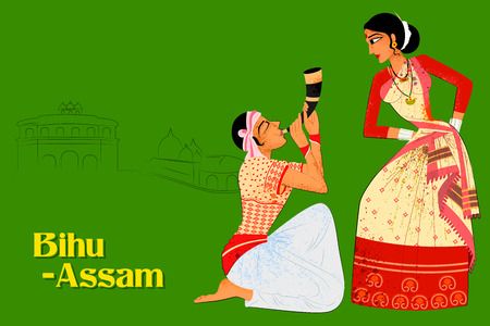 folk dance: Vector design of Couple performing Bihu folk dance of Assam, India Illustration