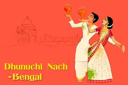 Vector design of Couple performing Dhunuchi dance of Bengal, India