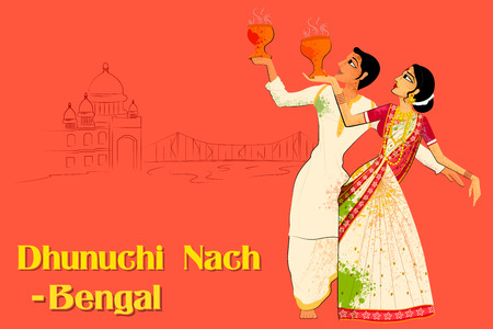 Desenho vetorial de casal realizando Dhunuchi dança de Bengala, Índia Ilustración de vector