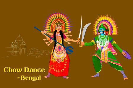 Vector design of Couple performing Chhau folk dance of Jharkhand, India Ilustração