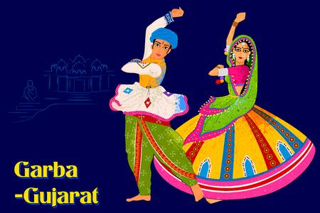 Vector design de casal realizando Garba dança folclórica de Gujarat, Índia
