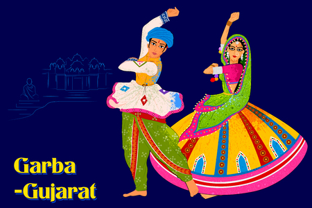Vector design of Couple performing Garba folk dance of Gujarat, India Ilustração