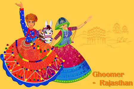 Desenho vetorial de casal realizando Kachhi ghodi dança folclórica do Rajastão, Índia