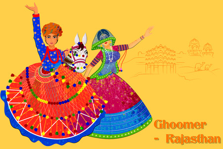 Vector design of Couple performing Kachhi ghodi folk dance of Rajasthan, India Ilustração