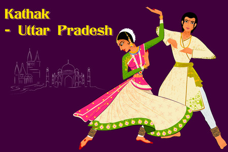 indian classical dance: Vector design of Couple performing Kathak classical dance of Northern India