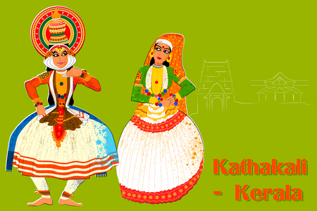 Vector design of Couple performing Kathakali classical dance of Kerala, India
