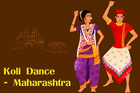 folk dance: Vector design of Couple performing Koli folk dance of Maharashtra, India Illustration
